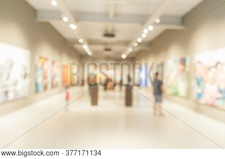 Blur Or Defocus Abstract Image Of People In Public Museum.