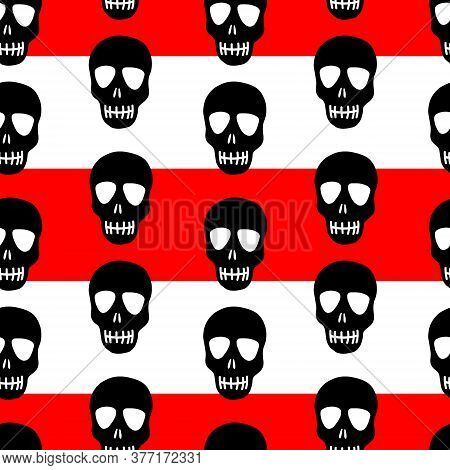 Seamless Skull Pattern On A Red And White Striped Background. Striped Pattern With Black Skulls.desi