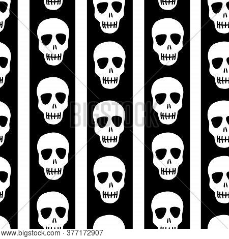 Seamless Skull Pattern On A Black And White Striped Background. Striped Pattern With Skulls.design F