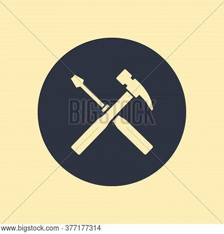 Screwdriver And Hammer. Illustration On Round Background