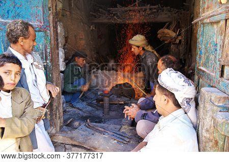 Al-mahwit / Yemen - 03 Jan 2013: The Forge In Al-mahwit Village In Mountains, Yemen