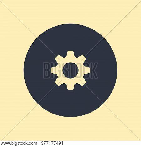 Gear Icon. Vector Symbol On Round Background