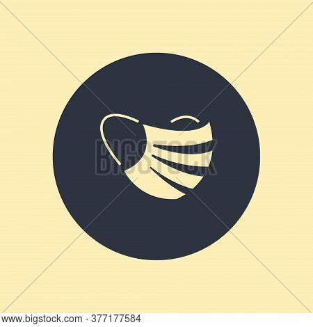 Medical Mask Vector Icon Isolated On Round Background