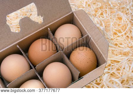 Argiculture, Farming Background. Free Grazing Of Hens. Egg Box Full. Cardboard Box With Brown Eggs.