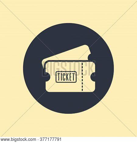 Ticket Icon. Vector Symbol On Round Background
