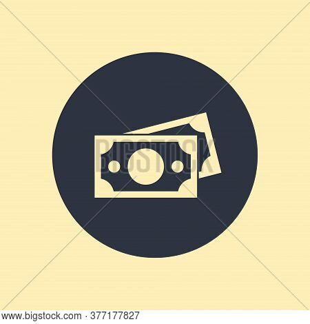 Banknote Icon. Vector Symbol On Round Background