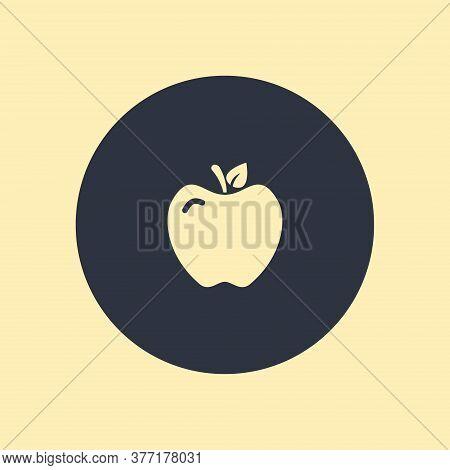 Apple - Vector Illustration. Vector Symbol On Round Background