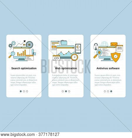 Search Optimization, Web Optimization, Antivirus Software. Vector Template For Website, Mobile Websi