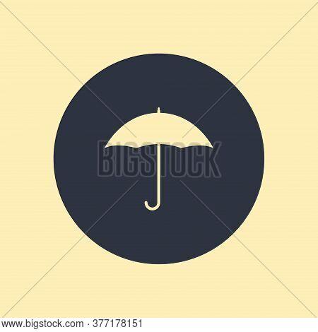 Umbrella Icon Shape. Vector Symbol On Round Background