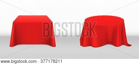 Red Tablecloth On Square And Round Tables. Vector Realistic Mockup Of Empty Dining Desk With Blank L