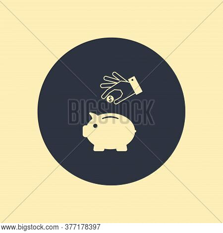 Piggy Bank With Hand And Coin. Vector Symbol On Round Background