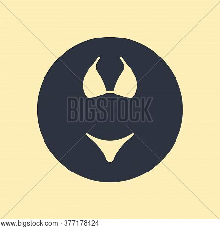 Girl, Lady, Woman, Female, Swimsuit Icon Isolated On Round Background