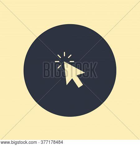 Click Icon. Vector Symbol On Round Background