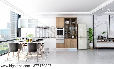 Modern Contemporary Stylish Kitchen Room Interior, 3d Rendering