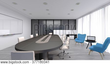 3d Rendering Of An Office. A Concept Of An Office And How It Can Be Simply Decorated. A Light Plays
