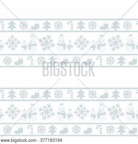 White Christmas Snowman Seamless Pattern Background