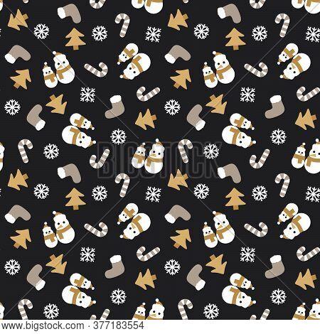 Brown Christmas Snowman Seamless Pattern Background