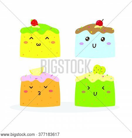 Cute Happy Various Flavor Of Cakes Vector Design, Can Be Use To Make Poster