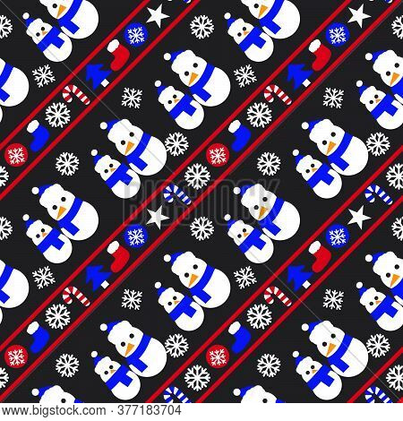 Red Navy Christmas Snowman Seamless Pattern Background