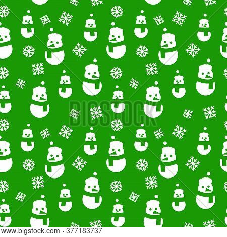 Green Christmas Snowman Seamless Pattern Background