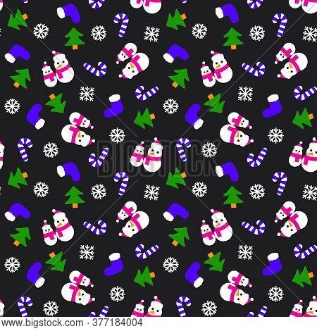 Purple Christmas Snowman Seamless Pattern Background