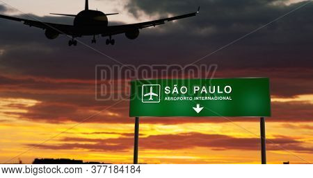 Airplane Silhouette Landing In Sao Paulo, Brazil, São Paulo. City Arrival With Airport Direction Sig