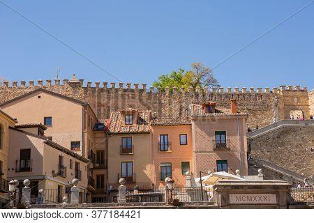 SEGOVIA, SPAIN - April 27, 2019: The old town of Segovia, Segovia, Spain