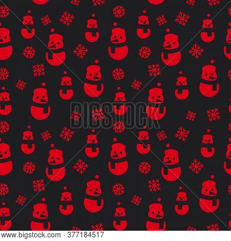 Red Christmas Snowman Seamless Pattern Background
