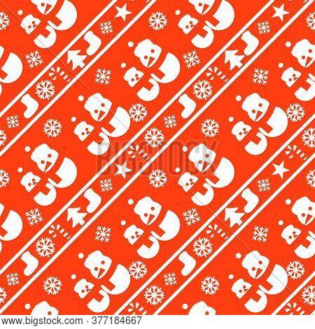 Orange Christmas Snowman Seamless Pattern Background