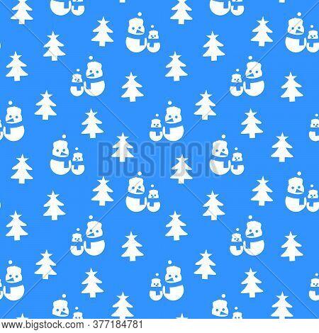 Blue Christmas Snowman Seamless Pattern Background