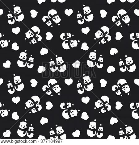Black And White Christmas Snowman Seamless Pattern Background