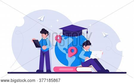 Concept Of Global Education. Boy Standing In Front Of Books And Globe With Cap. Study Abroad, Intern