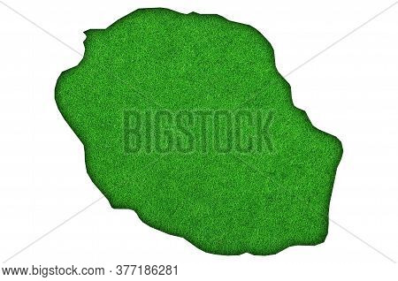 Detailed And Colorful Image Of Map Of Reunion On Green Felt