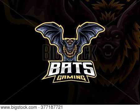Bat Mascot Sport Logo Design. Nocturnal Animal Mascot Vector Illustration Logo. Wild Bat Mascot Desi