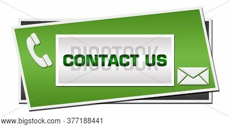 Contact Us Written Over Green Grey Background.