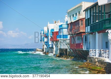 Houses by the sea in Mykonos Island, Greece. Greek landmark