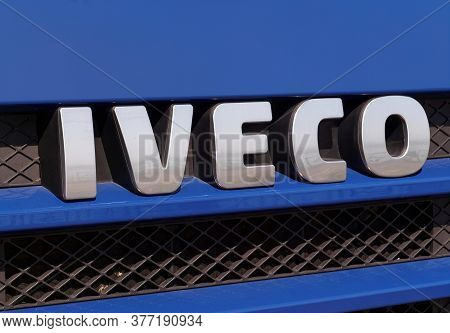 Galati, Romania - September 28, 2015. Iveco Sign In Front Of A Truck. Iveco Is An Italian Industrial