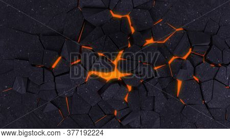 3D Render of a Fractured Ground Background