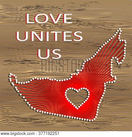 United Arab Emirates Art Vector Map With Heart. String Art, Yarn And Pins On Wooden Board Texture. L