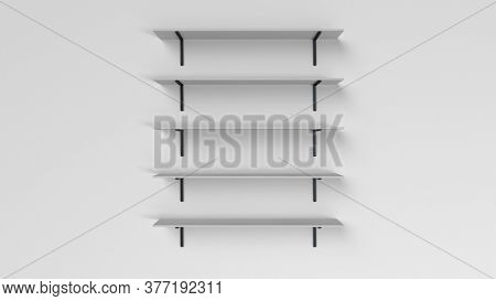 3d render of a set of shelves isolated on wall background