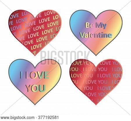 Heart Holograms Sticker Set. Vector Element, Sign, Icon, Symbol For St Valentine S Day. Heart Hologr