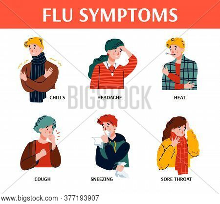 Flu Symptoms Poster With Sick Cartoon People Set Showing Signs Of Influenza Illness Or Cold. Medical