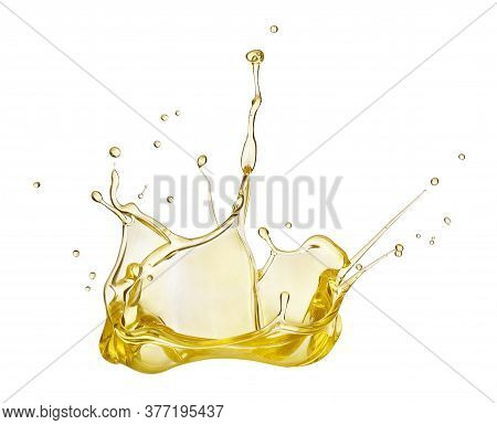 Oil Splash Isolated On White Background, Abstract