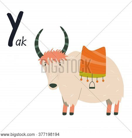 Funny Image Of Yak And Letter Y. Zoo Alphabet Collection.