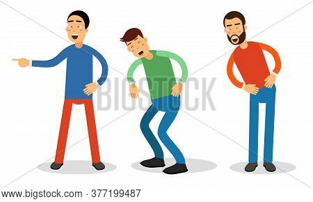Man Characters Laughing Loudly And Waving Hand Vector Illustration Set
