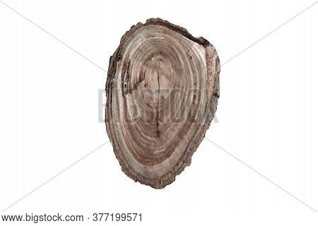 Image With A Overhead View Of A Texture Of A Old Wooden Log With Of Age Lines Marks On Isolated With