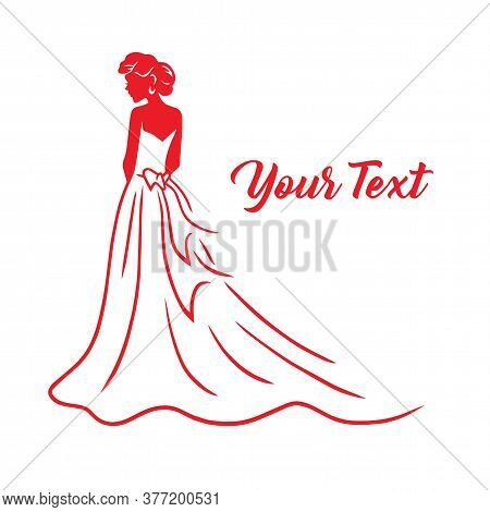 Wedding Bridal Wear Fashion Boutique Logo. Gown Sexy Dress Design Vector Line Illustration