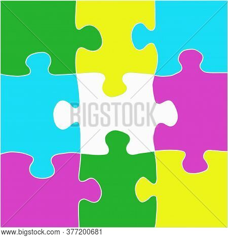 Multicolored Puzzle With A White Outline. Design Concept. Copy Of The Space.