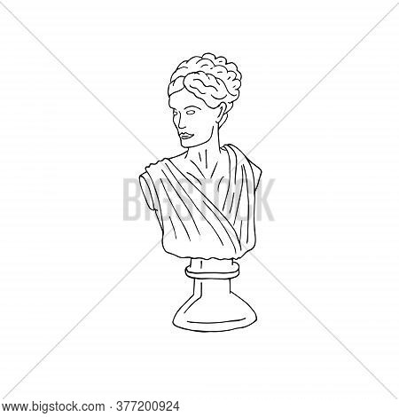 Vector Hand Drawn Doodle Sketch Antique Woman Bust Statue Isolated On White Background