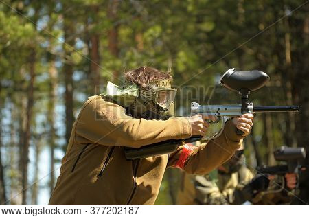 St. Petersburg, Russia 27.07.2013 Open-air Paintball Tournament At The End Of Summer In Nature, Peop